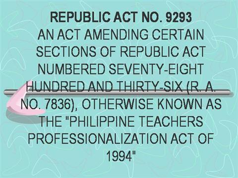 Republic act 7836 philippine teachers professionalization