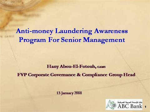 Aml awarness for senior management authorstream for Anti money laundering program template