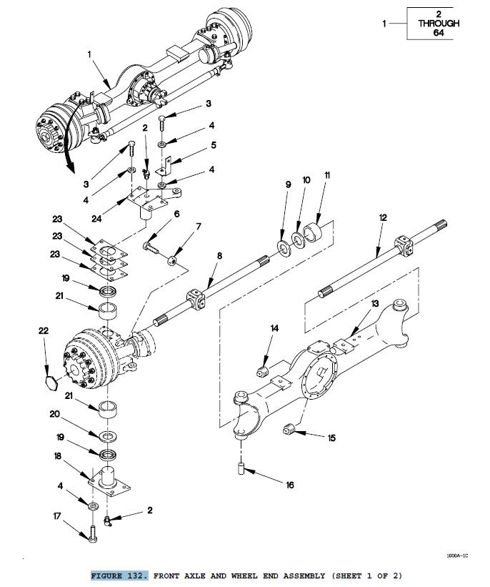 1 M1078 AXLE SHAFT 2520013638153 A2-3202-A-9621 NOS