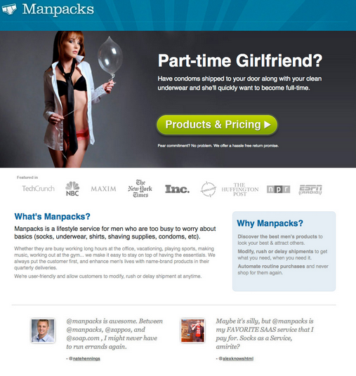 unbounce landing page man packs sexy girl