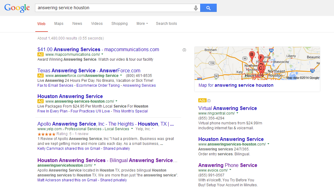google competitor local search example