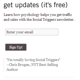 social trigger email sign up form