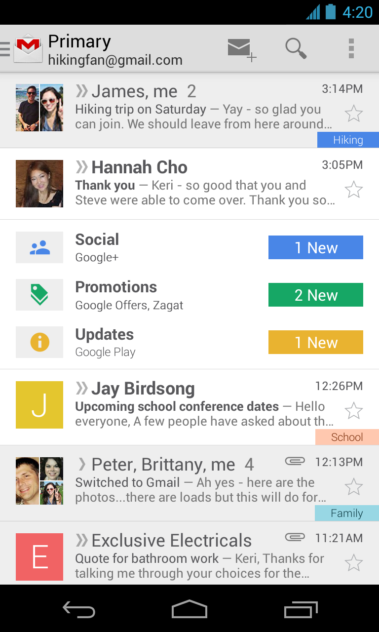 gmail app mobile screenshot
