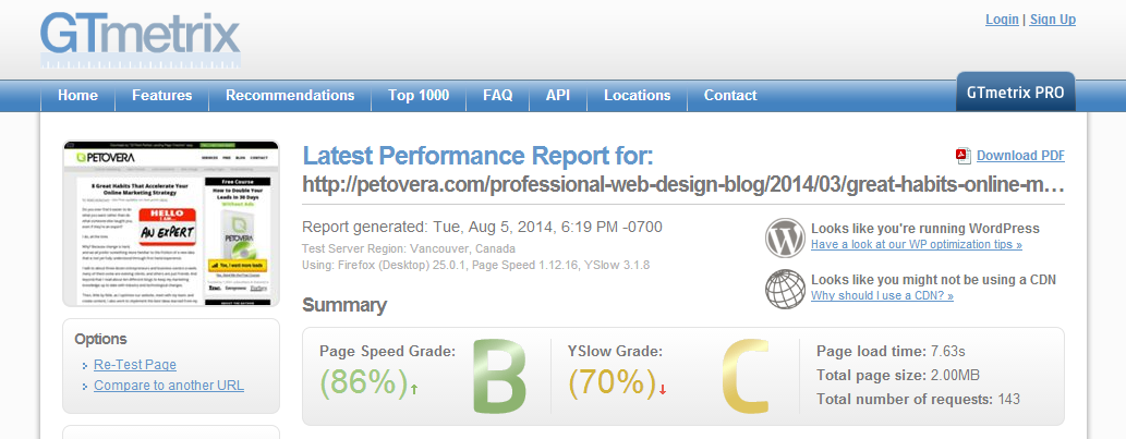 page-speed-load-grade-example