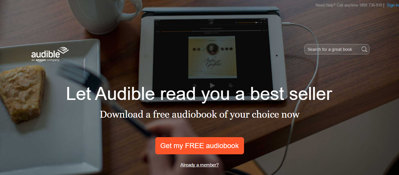 Audiobook Application - Audible - Landing Page example