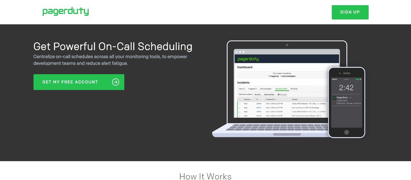 Scheduling Software - PagerDuty - Landing Page example