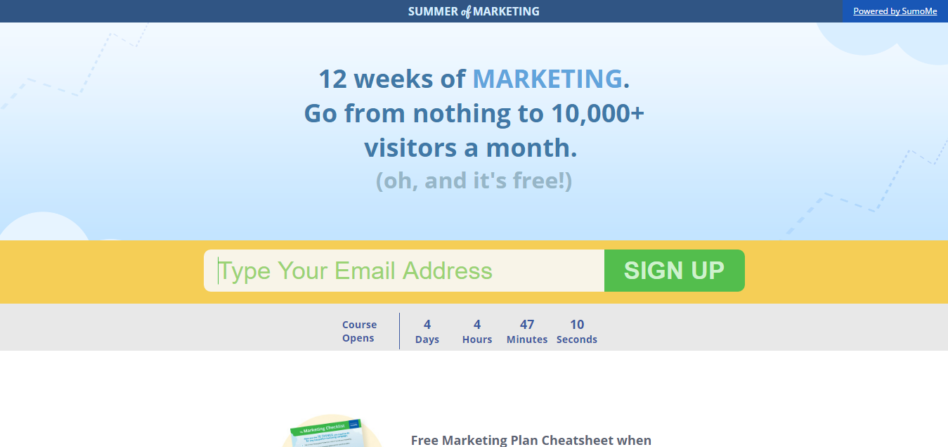 Marketing Course - Summer of Marketing - Landing Page example