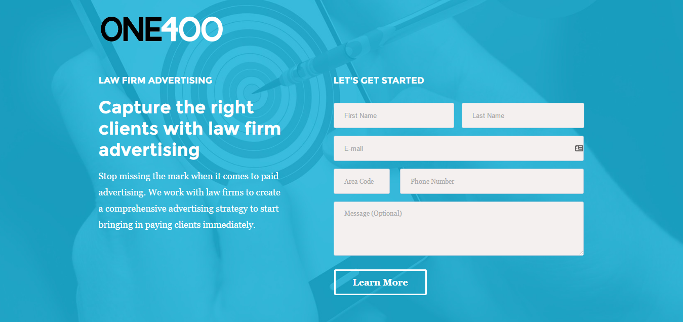 Law Firm Advertising - ONE400 - Landing Page example