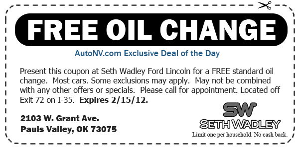 Free Oil Change From Seth Wadley Ford Lincoln