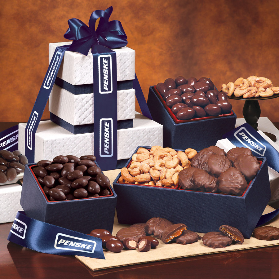 image of a food gift tower