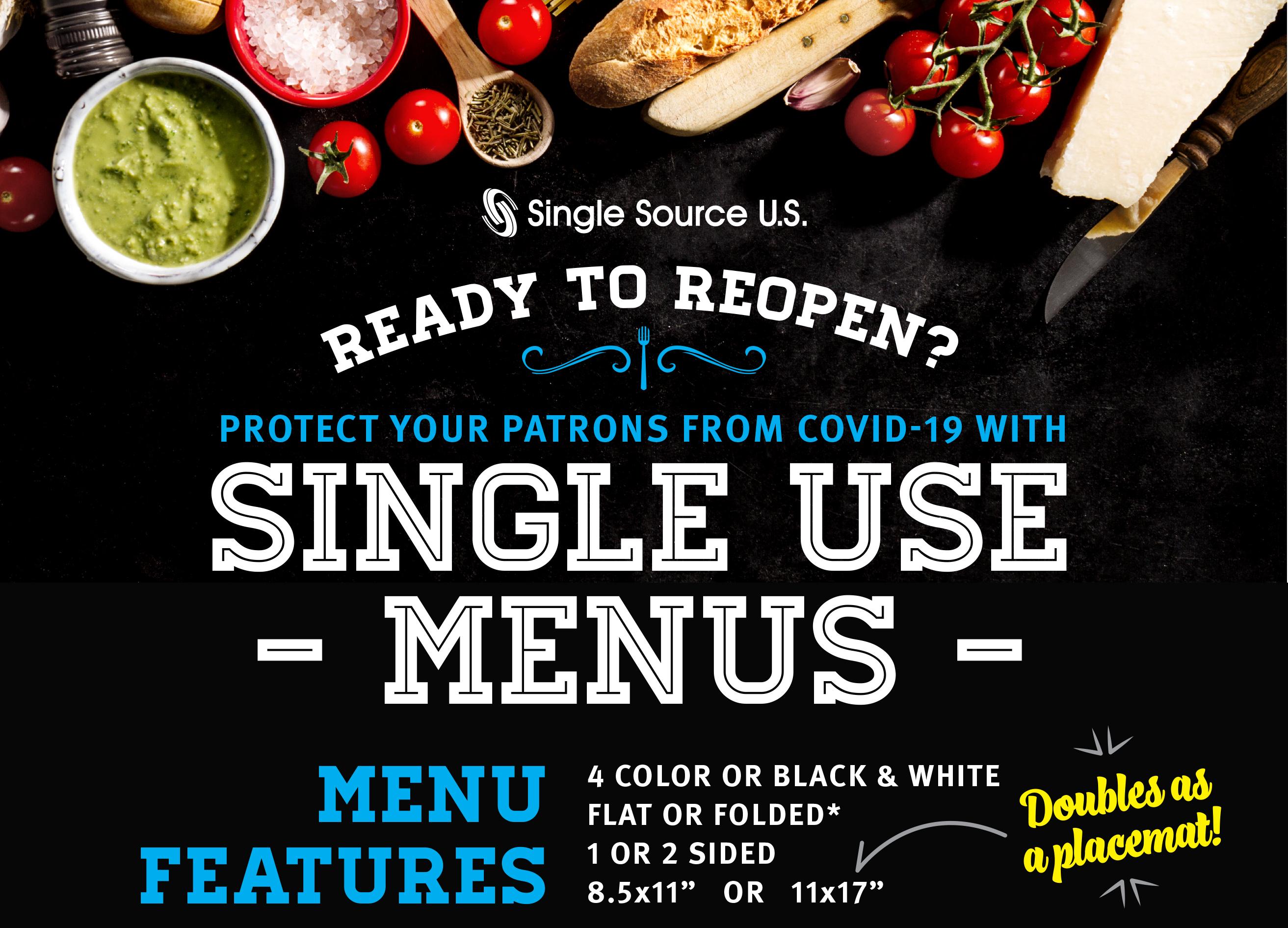 Single Use Menus