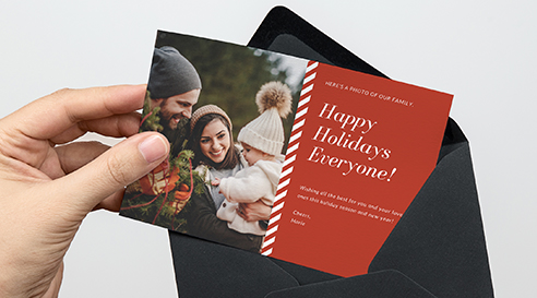 Example of a custom printed holiday greeting card