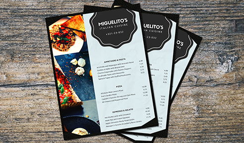 Example of custom printed menus