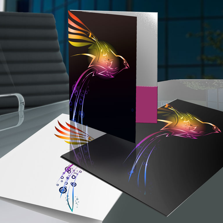 Presentation Folders with Foil Bird Design