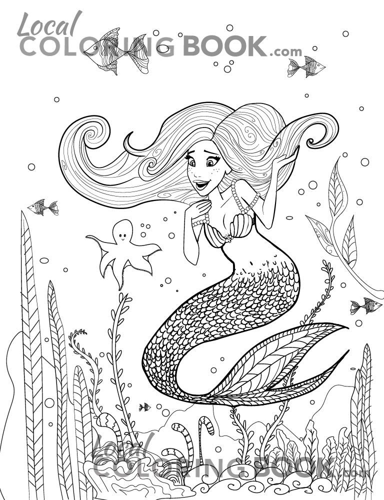Mermaid Coloring Poster