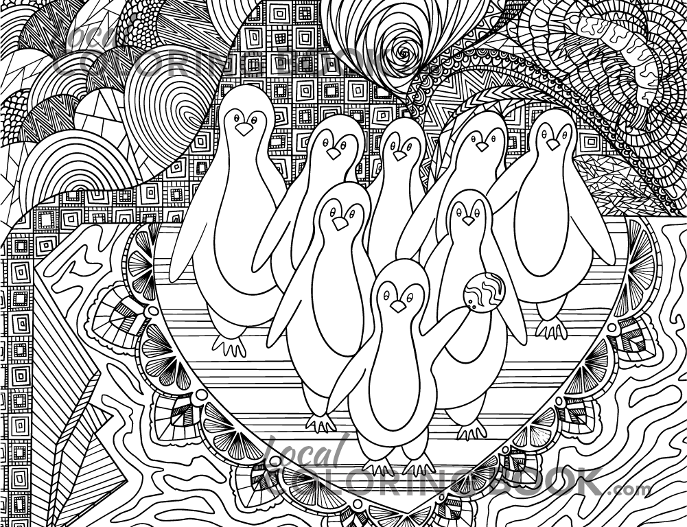 Penguin Coloring Poster