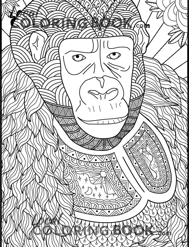 Gorilla Coloring Poster
