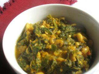 Spicy Black-Eyed Pea Curry with Swiss Chard and Roasted Eggplant