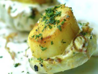 Scallops On Artichoke Bottoms In Tahini Sauce