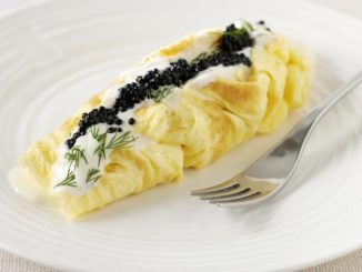 Duck Egg Omelette With Caviar and Sour Cream