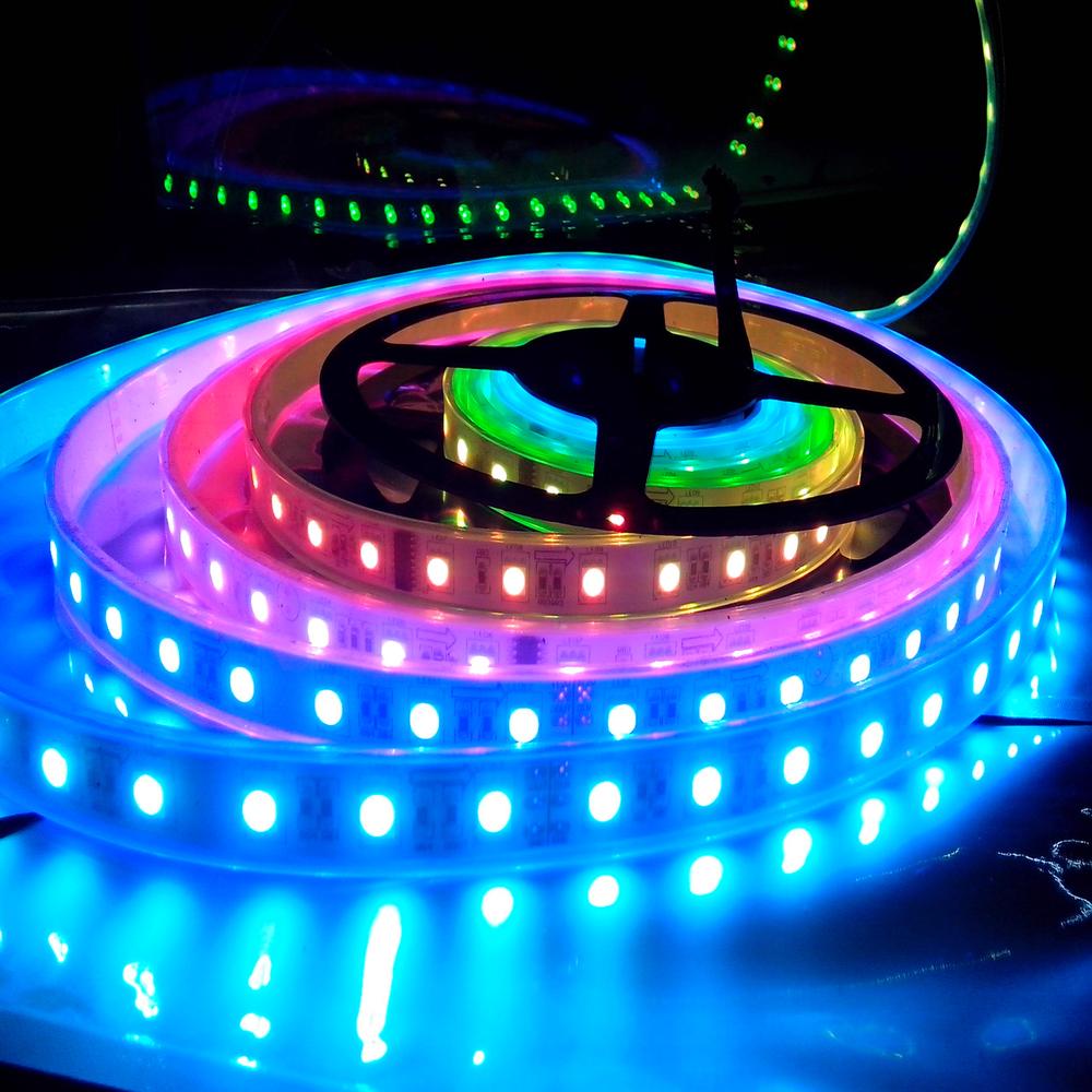Tira led 5 metros multi color a control remoto impermeable for Tiras led de colores