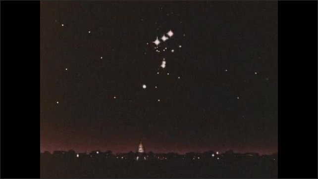 1960s: Satellite orbits Mars. Four stars twinkle in Orion's Belt.