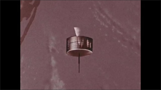 1960s: Satellite orbits Earth. Animation shows how satellite moves.
