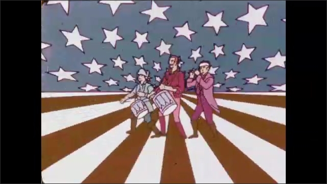 1970s: 200 flashes on field of animated stars and stripes. Drum and fife patriots march on field of stars and stripes. Red and white stripes fill the screen.