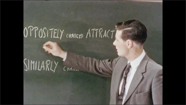 1950s: Man walks across classroom to blackboard, underlines words on blackboard.