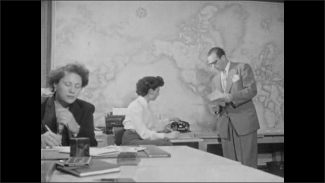 1940s: Woman sits at desk with phone to ear. Two women sit in front of phone operator switchboard. Woman on phone, hands phone to man standing next to her.