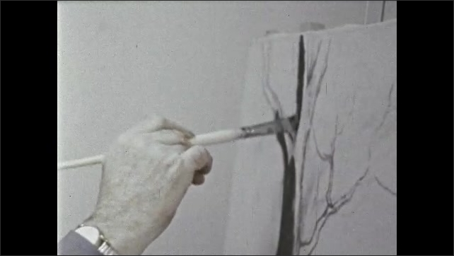 1970s: Old man mixes paint colors with brush, paints at easel, paints tree black.