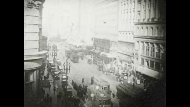 1910s: Boat flips over in water. Plane speeds down runway. People dance. Parade float. Woman on stage with men. Woman on horseback. Cars and people on San Francisco street. Fireworks.