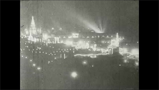 1910s: World's Fair at night. Crowds of people. Toyland.