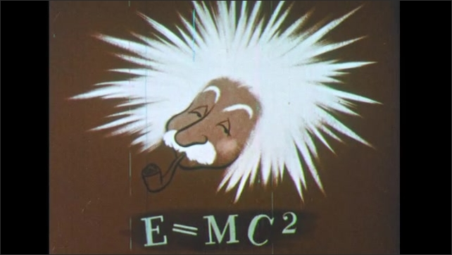 UNITED STATES - 1950s : Animated. Cartoon bursts flash, fading into a caricature of Albert Einstein's head.  Beneath it is the equation E=MC^2. Instant cut to an atom.