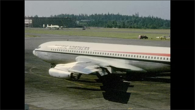 1960s: Boeing 720 passenger plane rotates on tarmac in preparation for departure.