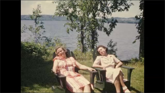 1940's: Vacationers relax at lakeside in Maine; Men play horseshoes.