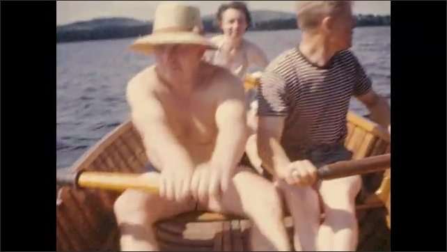 1940's: Two men row boat with woman passenger; Man runs into water on sandy beach.
