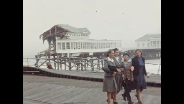 1940s: Views of damaged boardwalk and Heinz Pier in aftermath of 1944 hurricane.