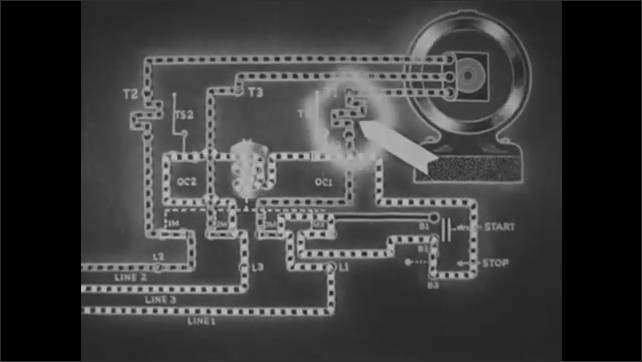 1940s: UNITED STATES: animation of electrons in circuit. Excess electrons flow through circuit. Contact opens and de-energises circuit.