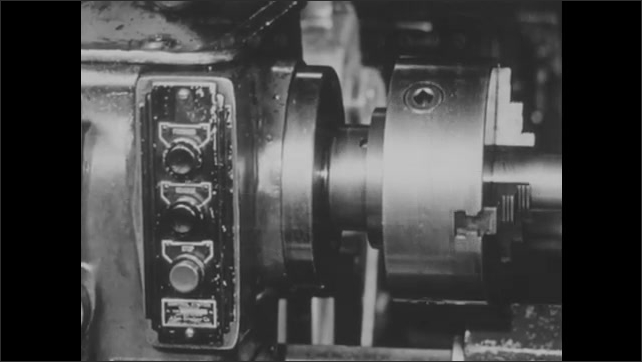 1940s: UNITED STATES: finger presses stop button. View of starter.