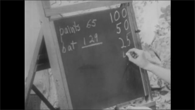 1940s: Boy writes numbers on chalkboard in living room while simultaneously counting change he holds in hand.