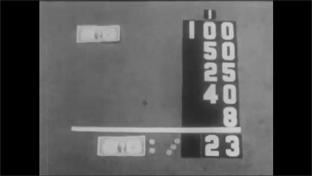 1940s: Change lies in pile on living room floor. Dollar bill appears and some change disappears. Change laid out on floor along with dollar bill and the numbers 100, 50, 25, 40, 8 and 25.