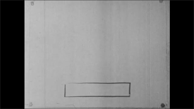 1960s: Person draws lines on paper, forms rectangle, and trapezoid. Person shades in trapezoid.