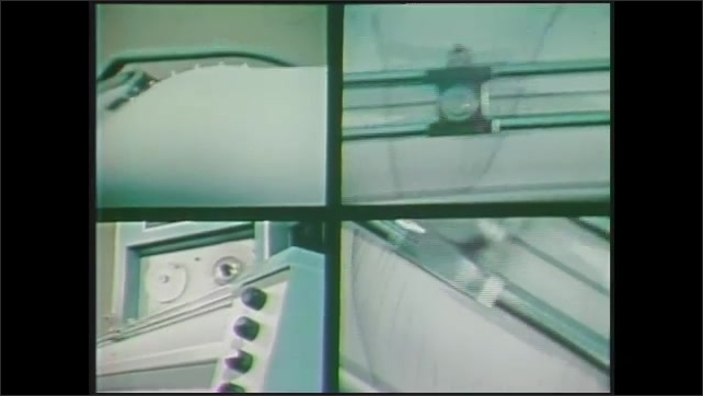 1970s: Split screen images of printer moving, tape reel, text on computer screen.
