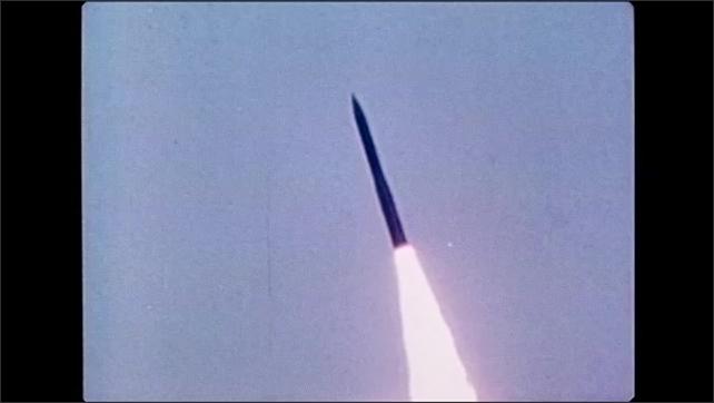 1980s: Explosion.  Missile flies through air.