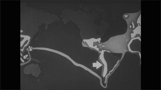 1950s: EUROPE: map of exploration route. Discovery of the Mississippi. Philippines on map