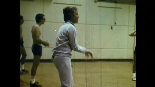 1970s: girls practicing field hockey and volleyball