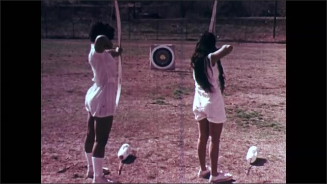 1970s: girls practicing tennis, archery, and golf