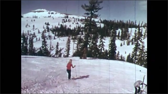 1970s: people skiing down slopes, person skiing down hill and making a jump