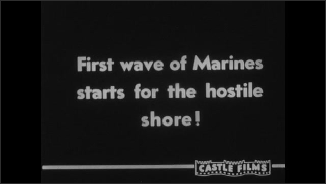 1940s: Soldiers climb into U-boat. Battleships fire artillery guns and smoke billows. Text placard. U-boats and battleships sail through ocean. Soldiers in APC vehicles emerge from ocean.